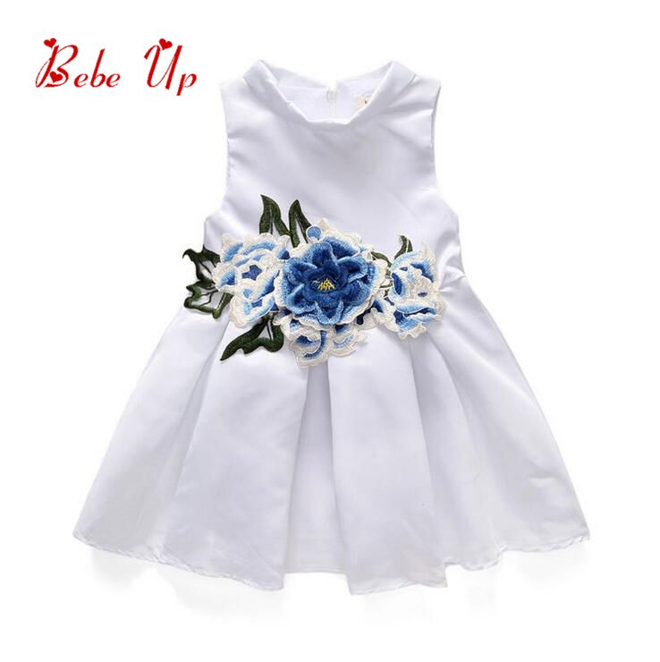 Baby Princess Girls 2017 Summer Dresses Children Clothing Kids Appliques Flower Embroidery Floral Clothes Children Clothing