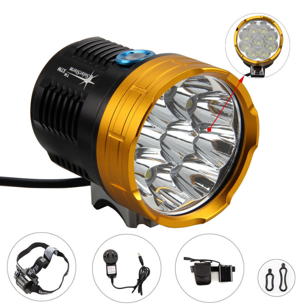 8.4V Cree Bicycle Light 9xCree XM-L2  LED 3 Mode 18000LM Bike Cycling headLight+18650 8800mah Battery Pack+Charger+Head Strap hot sale 3x cree xml t6 led headlamp bike light 5000 lumen 18650 led head light 4x18650 battery pack charger bike rear light