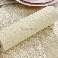 Free Shipping 3Rolls Cream Color Lace Roll Fabric Tape Ribbon Country Wedding Lace Table Runner Table Centerpiece Decorations