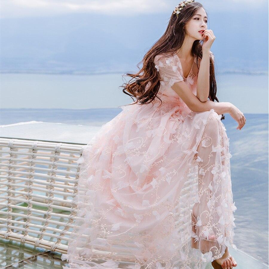 Moda Robe Fleurs Hippie Miel Gaze Princesse 3d Mujer Bohème Verano Femmes Gispy Tunique Praia Fée Ropa Broderie pYRwz
