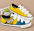 Spring&Autumn Children Fashion Hand Drawing Low Canvas Shoes Boy&Girl Graffiti Minions Velcro Casual Breathable Sneakers W108