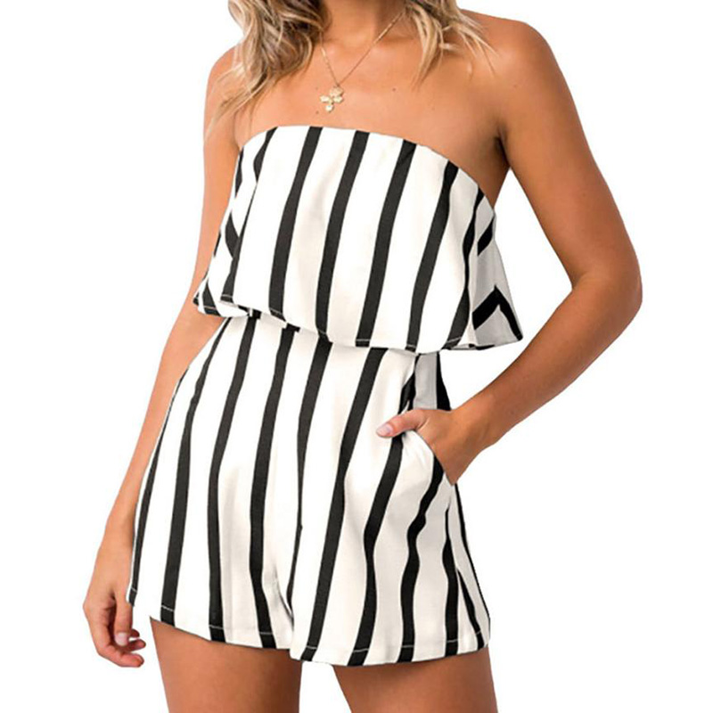 FEITONG Jumpsuit Sexy Combinaison Rompers Womens Off-Shoulder Stripe Female Femme Club