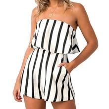FEITONG комбинезон женский комбинезон сексуальный и клубный с открытыми плечами, полоска для женщин Свободная Женская одежда женский комбинезон#5 M
