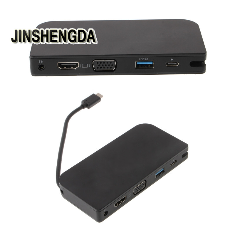 JINSHENGDA Audio Video Cables USB 3.1 Type C To HDMI+VGA+USB 3.0+Headphone Converter Adapter Multiport Dock