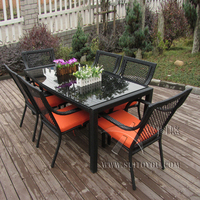 7 Pcs Outdoor Indoor Rattan Garden Dining Sets Country Style Table Set Transport By Sea
