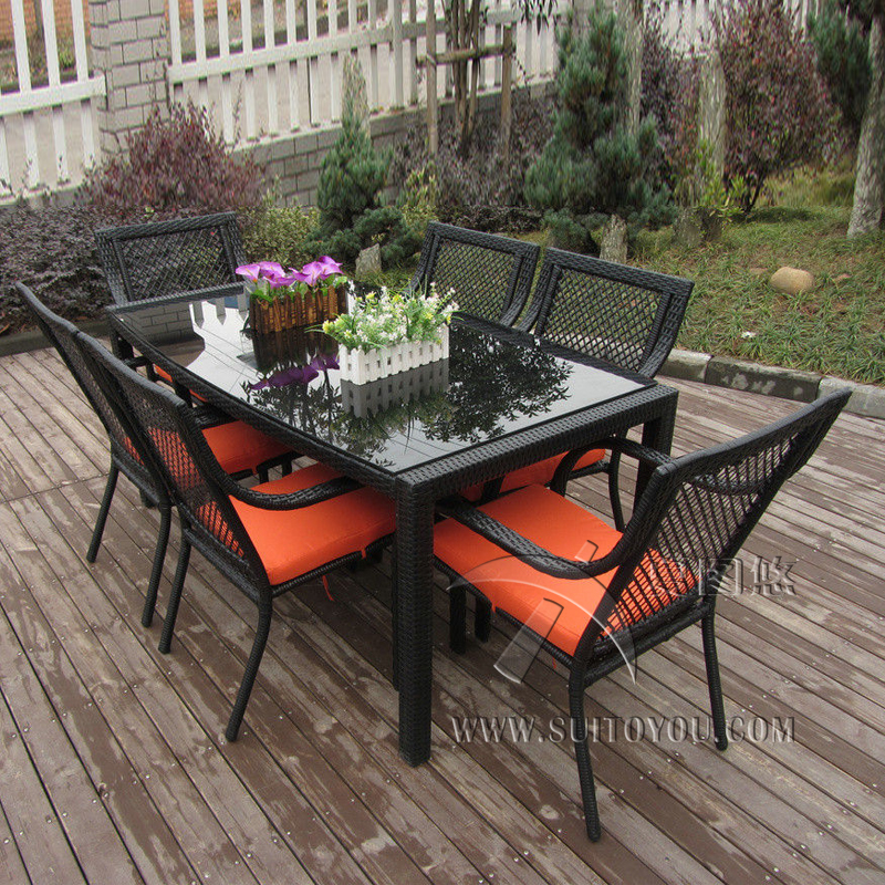 7 pcs Outdoor / Indoor Rattan Garden Dining Sets , Country Style Table Set transport by sea long shape american country design wooden philippine dining table set