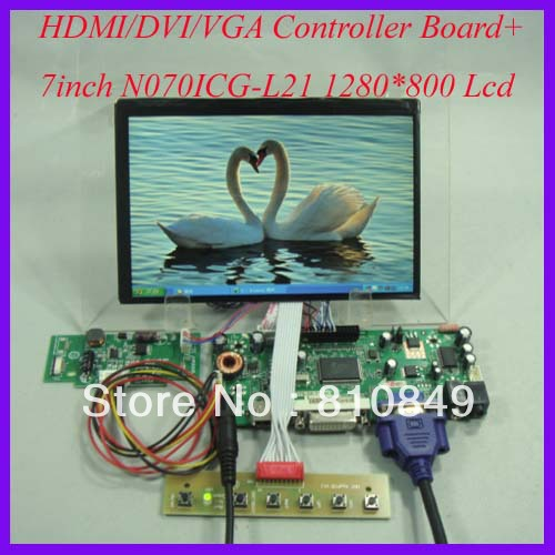 HDMI+DVI+VGA+Audio Controller board+7inch N070ICG-L21 1280*800 IPS Lcd panel details about hdmi vga dvi audio controller board 12 1inch ac121sa01 800 600 lcd panel