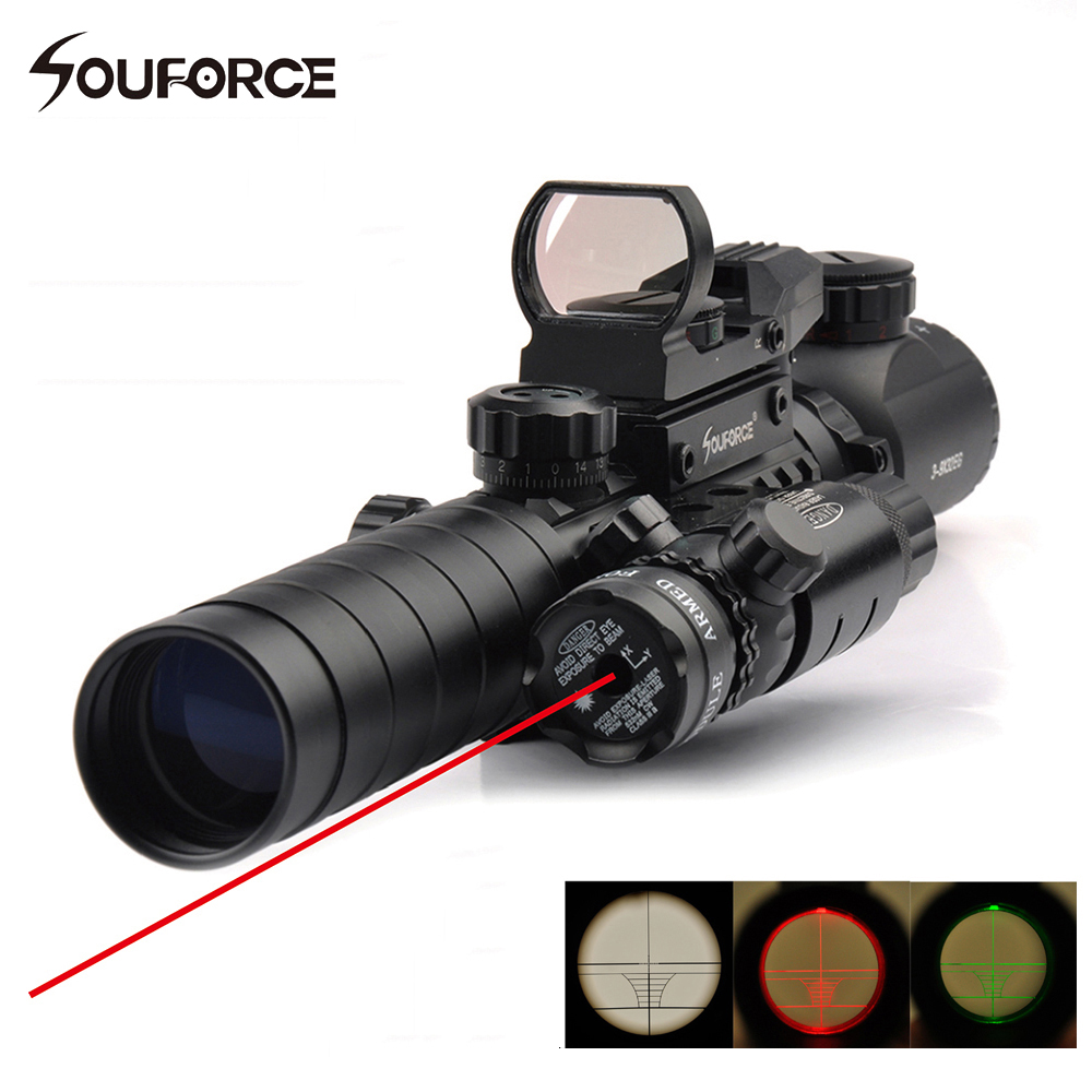 3-9X32EG Tactical Rifle Scopes With Red Dot Laser And Red/Green Dot Holographic Reflex Sight 3 In 1 For Airsoft Hunting