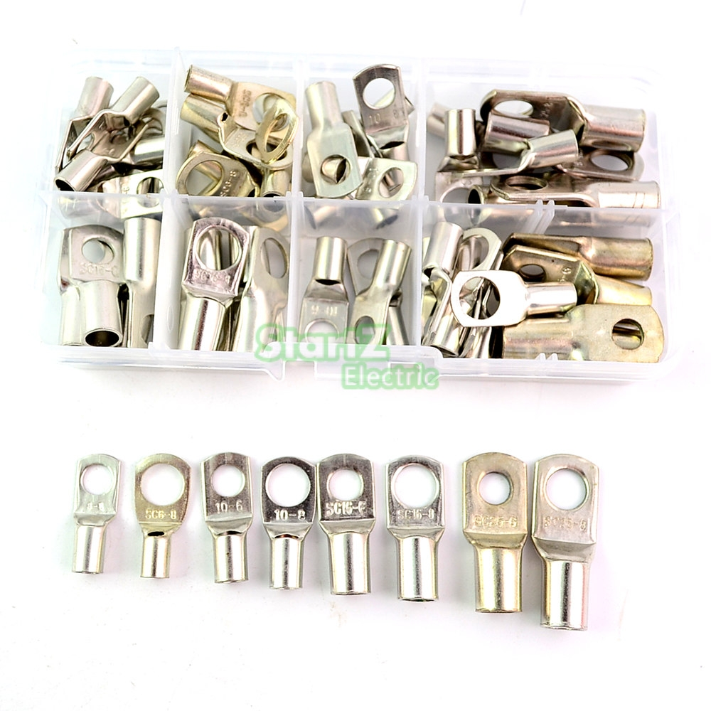 60pcs Bolt Hole Tinned Copper Cable lugs Battery Terminals set Wire terminals connector SC10-6 SC16-8 SC25-8 10pcs bolt hole tinned copper cable lugs battery terminals set wire terminals connector 70mm2 2 0awg sc70 10 sc70 12