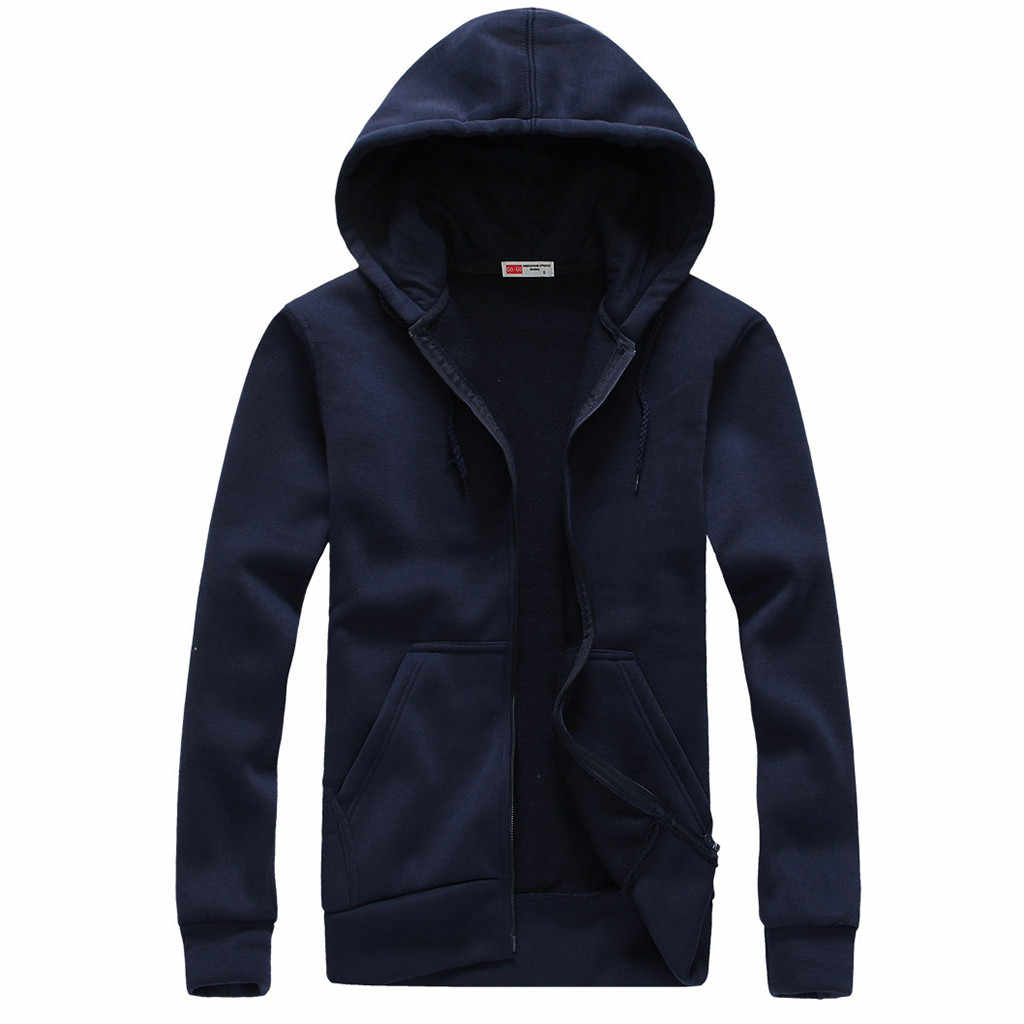 Feitong ジャケット男性シンプルなファッションソリッドロング長袖のフード付きカーディガンジッパートップメンズジャケットコート