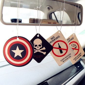 GSPSCN 2pcs Car Hanging Perfumed Fragrance Papers Hero Captain America Superman Air Freshener Car Perfume Christmas Tree Pendant