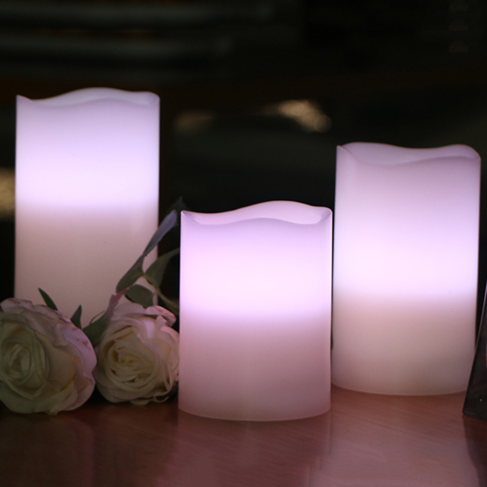 flameless LED electronic candle, made by real wax, wireless RGB remote control with timer,dimmer,on/off function,3pc 1 set