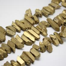 Full Strand Gran Oro titanio cuarzo Nugget perforado stick suelto Cuentas, cristales crudos tallados colmillo Colgantes collar
