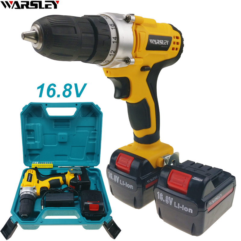 16.8V  power tools electric drill Cordless Drill Like Handheld sans fil Electric Tools Mini Drill 2 battery The plastic box 220v electric drill power tools