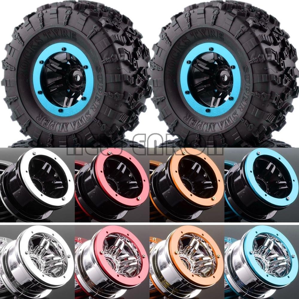 4PCS 2.2 Wheels & Super Swamper Rocks Tyre FOR RC 1/10 Rock Crawler SCX10 D90 CC01