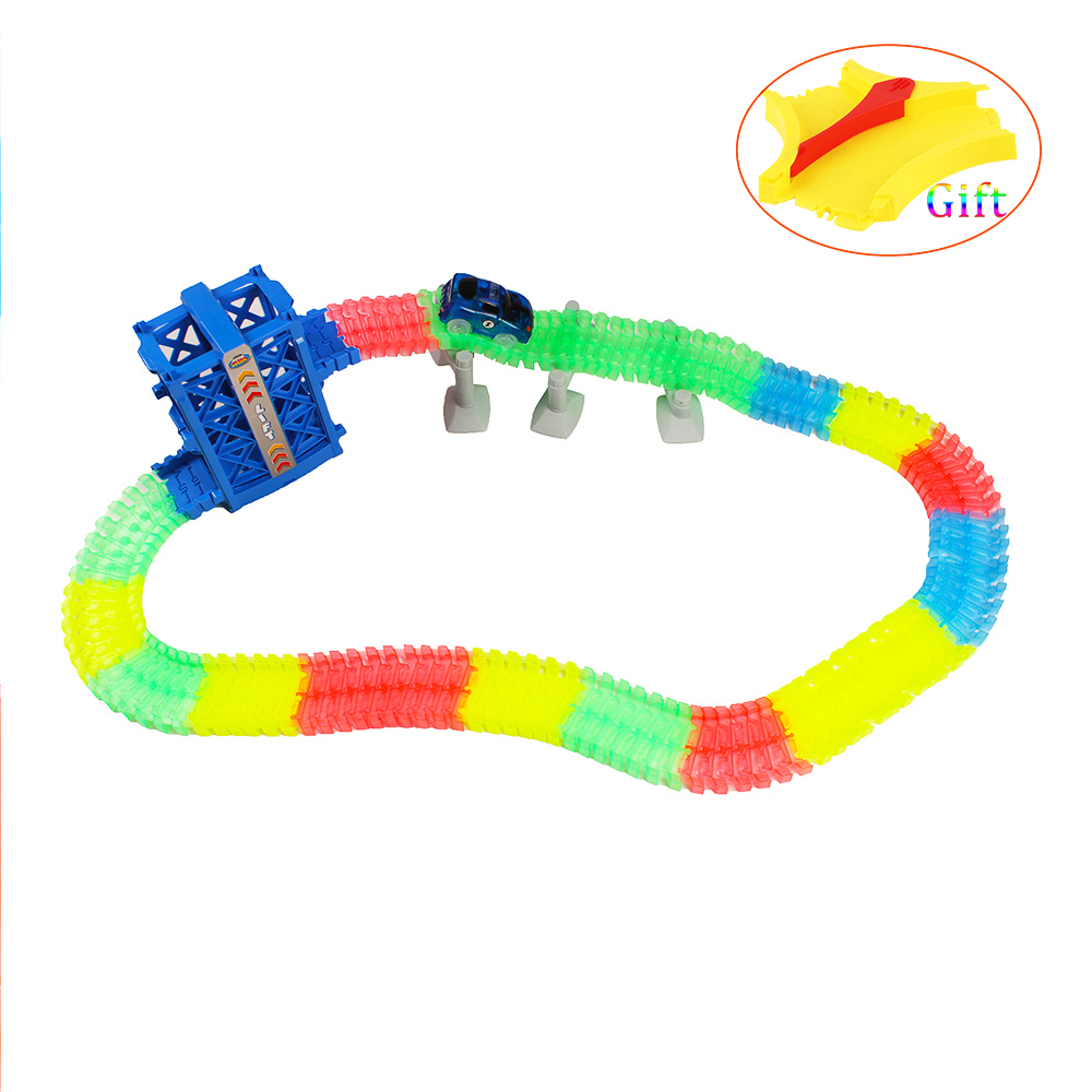 180pc DIY Lifts Track Collection Bend Flexible Electronic Track Roller Coaster Toy Kid Birthday Gift Glowing racing Elevator Toy
