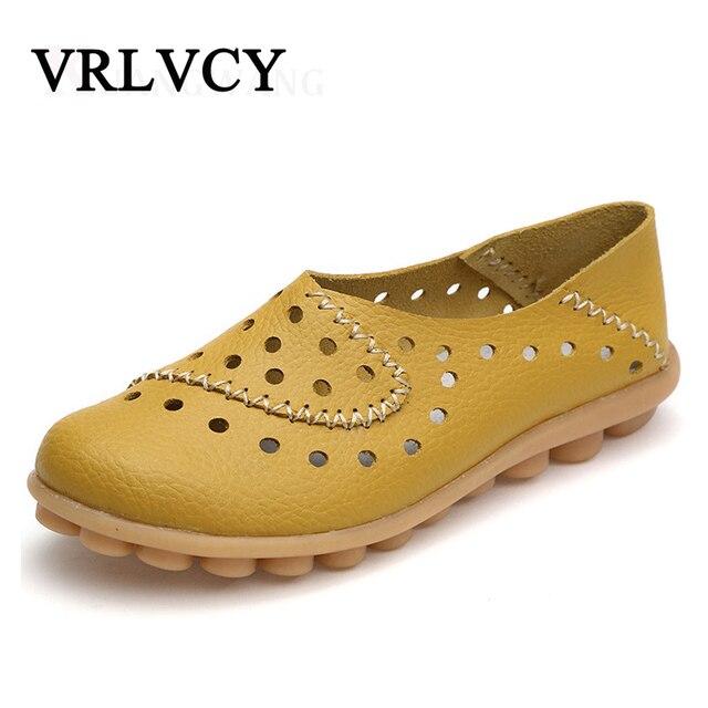 7e0abd297 Mulher Mocassins de Couro genuíno Novas Mulheres Da Moda Sapatos Rasos Femininos  Sapatos Casuais Macios sapatos