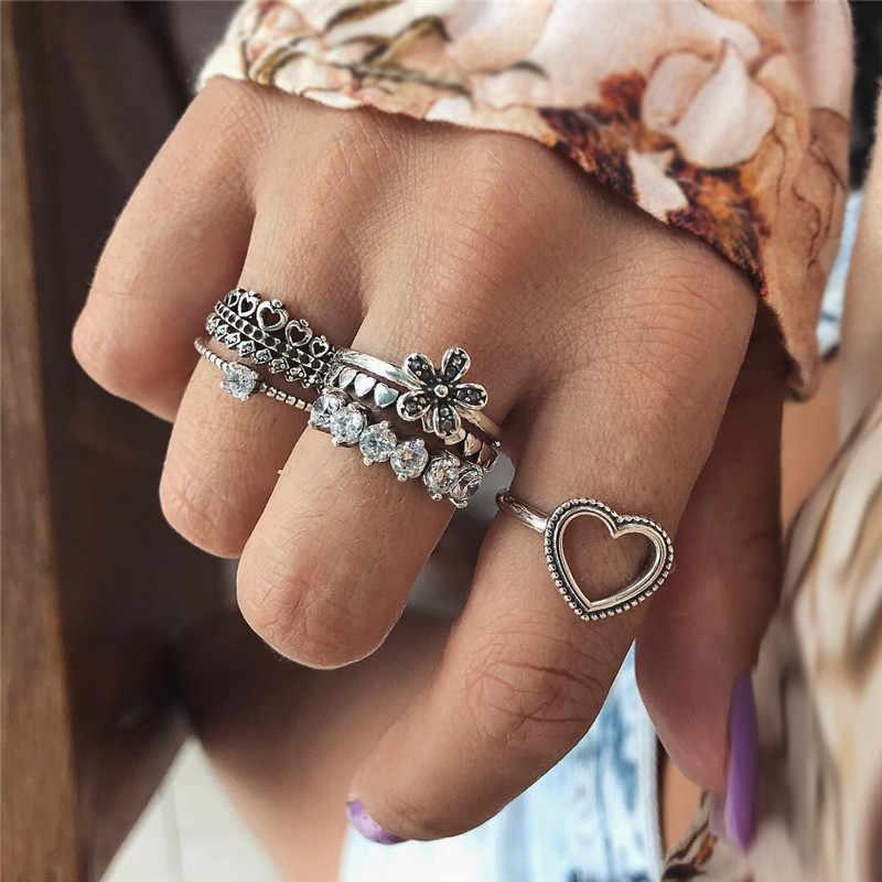 Retro série de pedra de cristal de multi peças conjuntos de anéis oca lua ondas bonito loveheart anéis irregulares para o sexo feminino