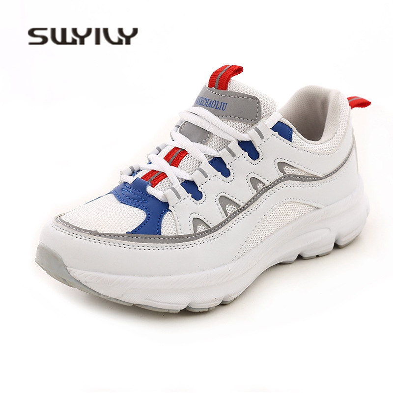 SWYIVY Woman Sneakers Comfortable Thick Bottom Spring 2018 White Female Casual Shoes Breathable Flat Woman Sneakers 40 Size Hot swyivy women sneakers light weight 2018 41 woman casual shoes slip on lazy shoes comfortable candy color breathable net shoe