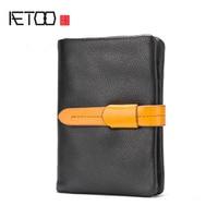 AETOO męskie portfele skórzane pionowe pkt prosta pompowania portfel męskie modele młodych męska retro cienki Rocznika portfel