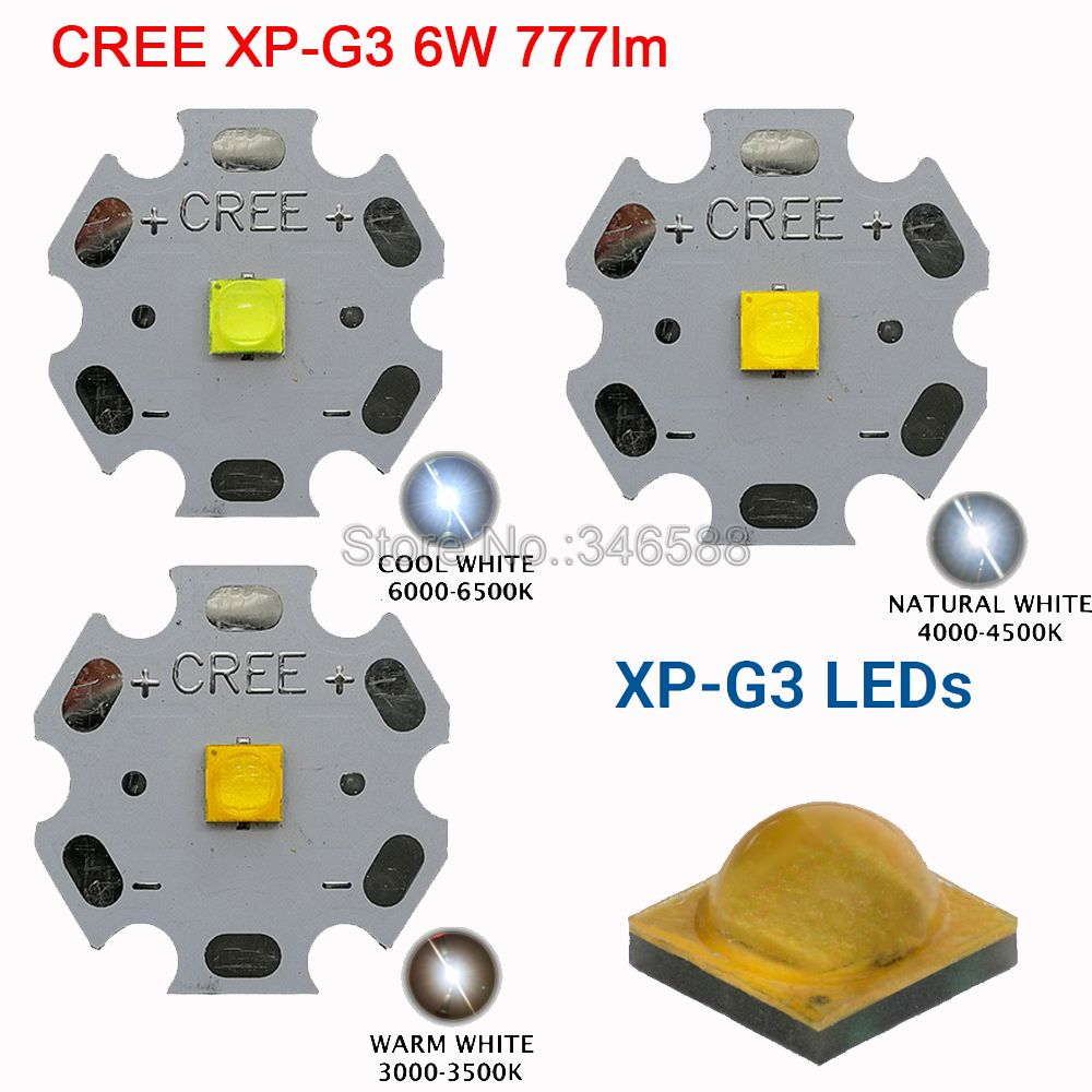 Cree XPG3 XP-G3 1W - 6W High Power LED Emitter Diode Cool White Warm White Neutral White LED Chip On 20mm 16mm 14mm 12mm 8mm PCB