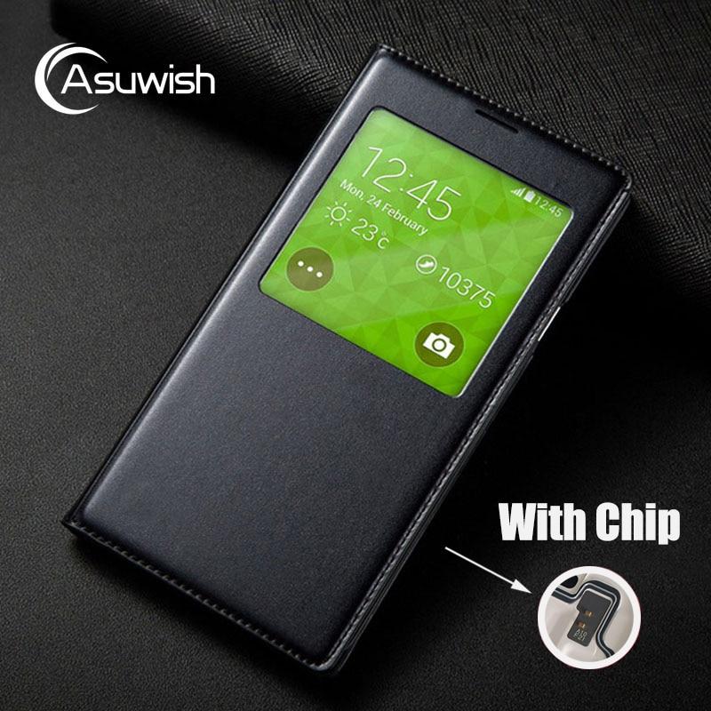 Asuwish Smart View Tirón de La Cubierta Funda de piel Para Samsung Galaxy S5 Mini G800 G800F G800H Caja Del Teléfono S5 G900F G900H Dormir Con Chip