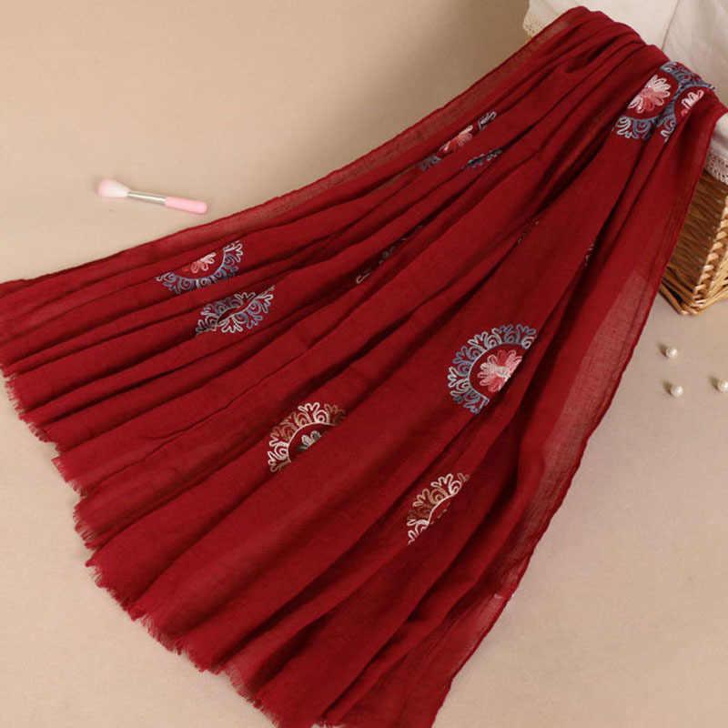 Женские простые вышитые цветочные шарфы с кисточками женские зимние толстые теплые пашмины шарф высокого качества Женский хиджаб шаль горячая распродажа
