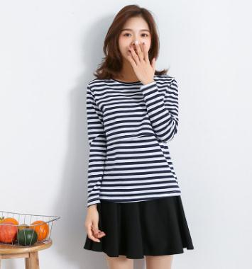 Cotton Striped Maternity Breastfeeding Tops 2019 Spring Fall Nursing Clothes For Pregnant Women Postpartum Feeding Clothes WX202
