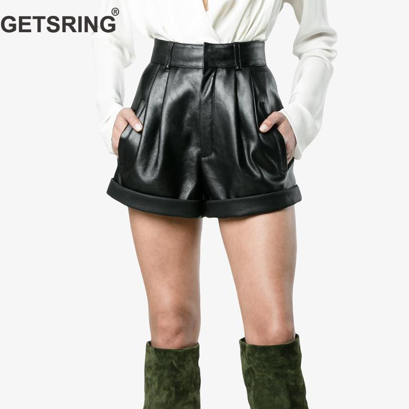 GETSRING Women Shorts PU Leather Womens Shorts Solid High Waist Shorts All Match Black Short Pants Fashion Leisure Trousers 2018