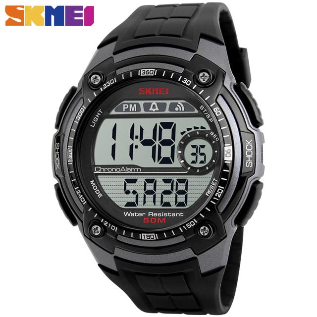 Skmei 1203 deporte digital relojes de alarma cronógrafo reloj de los hombres de la pu correa de resina de cristal al aire libre militar relojes de pulsera