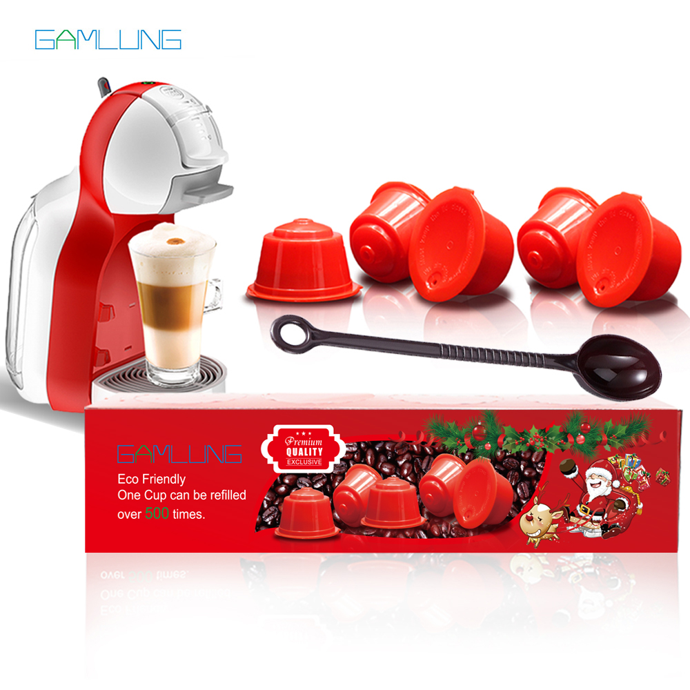 Cápsula reutilizable Gamlung 5 unids Dolce Gusto café cápsula Nescafe Dolce Gusto con paquete de regalo Premium
