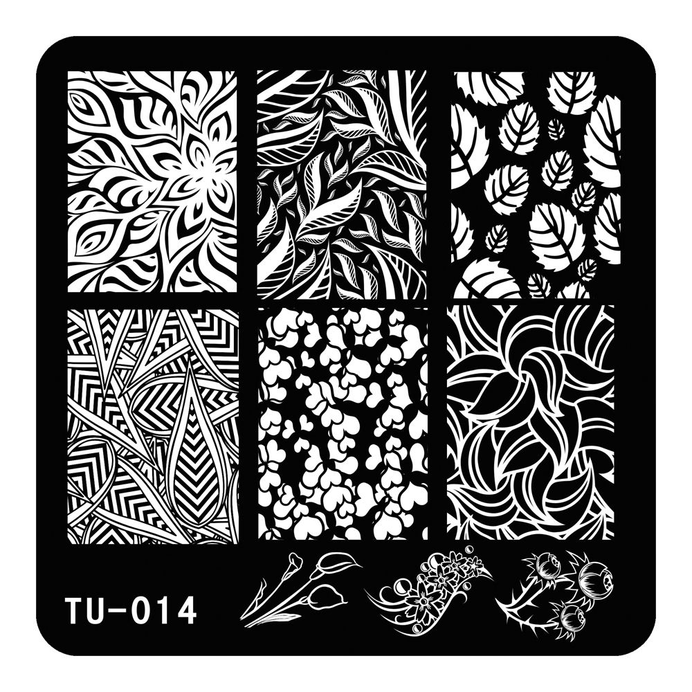 Nail Stamping Plates Stamp Nail Art Template Manicure Tools Diverse Leaves Design Template for Lady TU-014