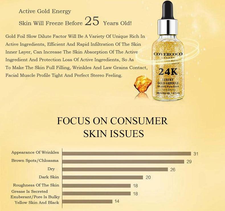 Luxury 24k Pure Gold 99.99% Serum Ampoule Essence Hyaluronic Acid Whitening Moisturizing Anti- Aging Day Cream Anti-Wrinkle Face Care Treatment For Women