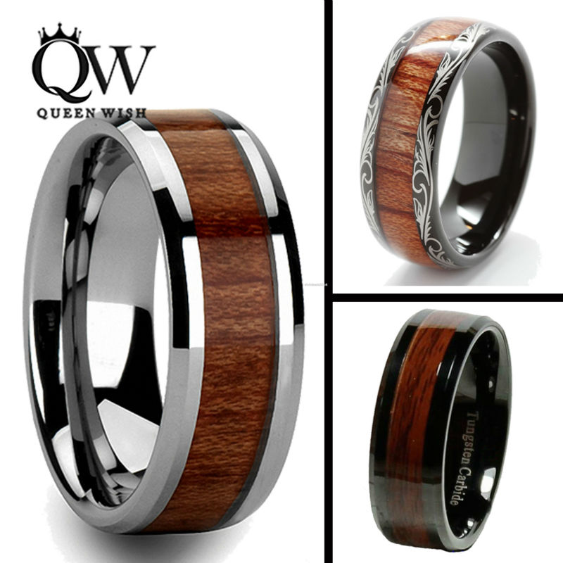 queenwish 8mm black slivering tungsten carbide ring koa wood inlay matching mens wedding bands anniversary engagement - Koa Wood Wedding Rings
