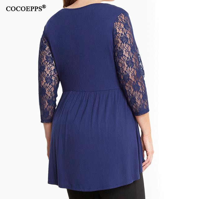 Plus size lace tops Women Autumn Winter Three Quart T-shirt Black blue Tshirt Women big sizes L-6XL