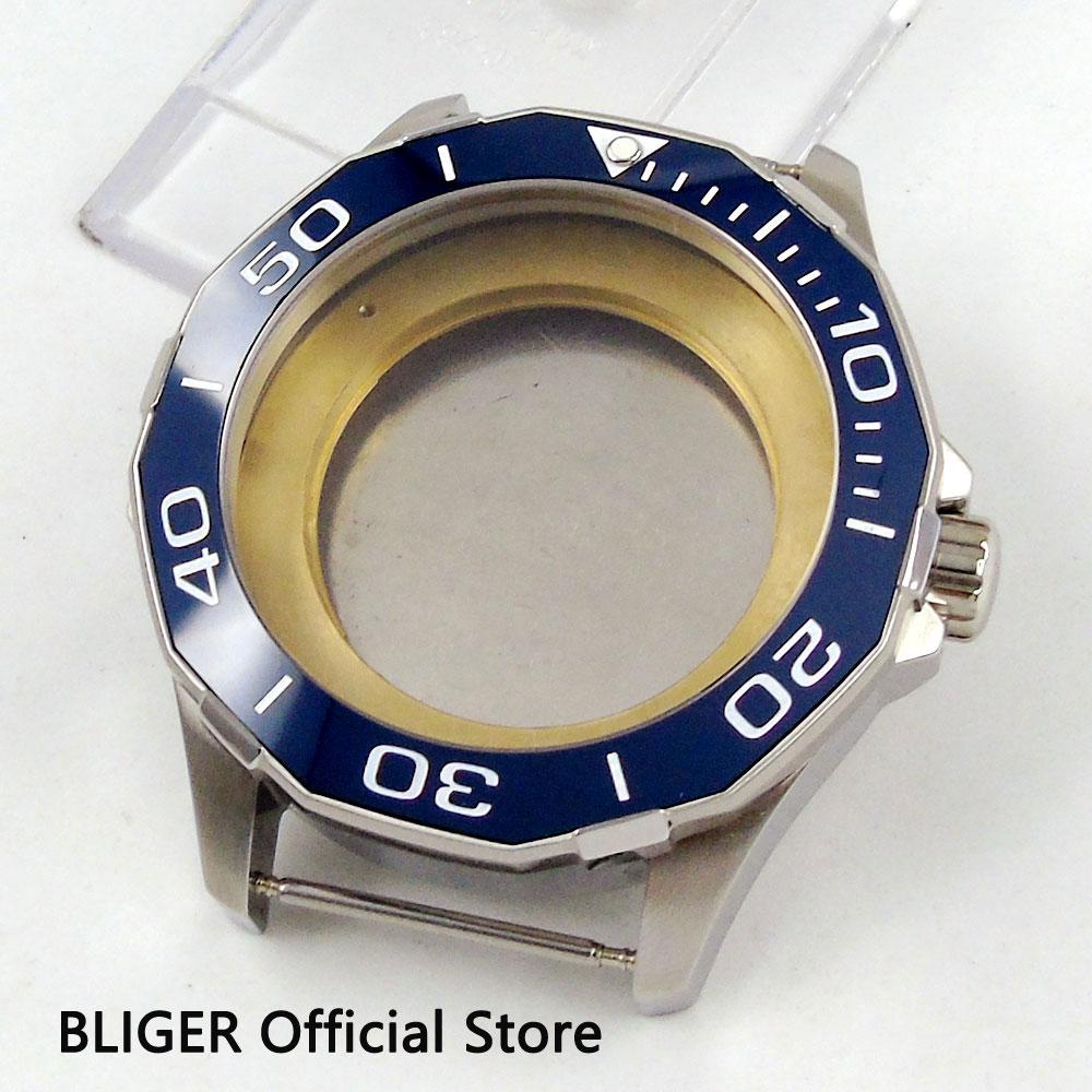 цена на BLIGER 45MM Sapphire Glass Blue Ceramic Bezel Watch Case Full Stainless Steel Fit ETA 2836 MIYOTA 8215 821A Movement C8