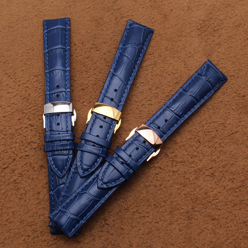 14mm 16mm 18mm 20mm 22mm New Blue Alligator Grain Genuine Leather Watchbands Strap Bracelets Gold silver