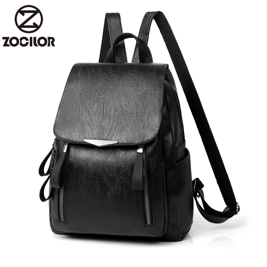 2019 Casual Backpack Female Leather Women's backpack Large Capacity School Bag for Girls Double Zipper Leisure Shoulder Bags(China)