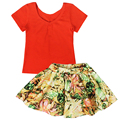 QUIKGROW 2 PCS Fashion Baby Girl Clothes Set Summer Short-sleeve Red Tees T-shirt + Colorful Floral Short Skirt Suits NY26TZ