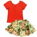 QUIKGROW 2 PCS Moda Bebê Roupas de Menina Definida Verão Curto-luva Vermelha T-shirt T-shirt + Colorido Floral Saia Curta ternos NY26TZ