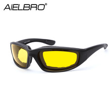 AIELBRO Windproof New Motorcycle Riding Cycling Glasses Resistant Shatterproof Black Frame Goggles Eye Protection