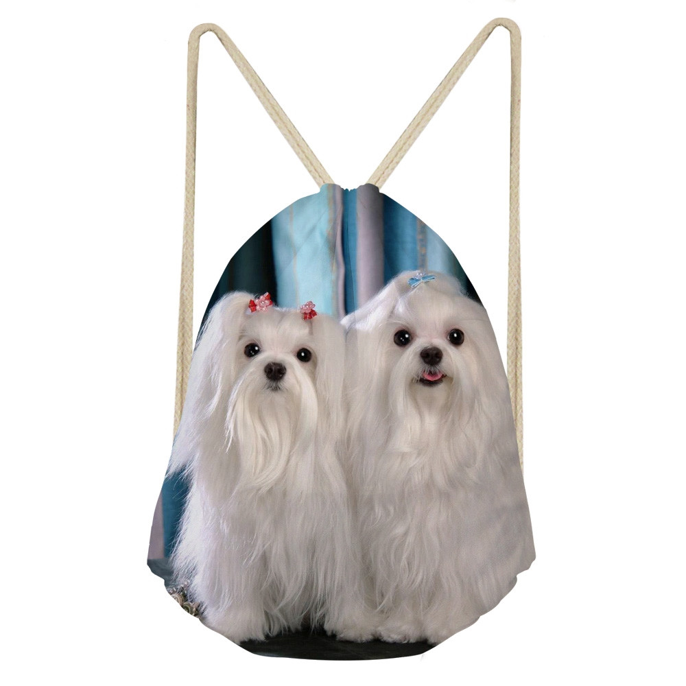 Kawaii 3D Animal Maltese Dog Print Women Drawstring Bags Multifunction Storage Bags For Teen Girls Travel BackpacksSumka