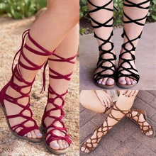 цены 2019 Women Sandals Summer Style Peep Cross Tied Gladiator Sandals Flat Shoes Woman Beach Shoes Ladies Sandals Big Size 43