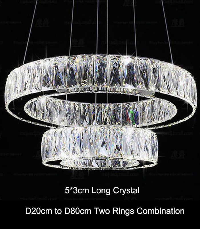 Buy modern crystal 2 rings led pendant for Lustre 3 suspensions