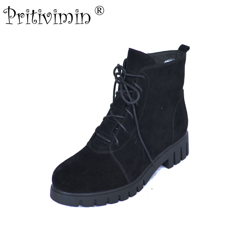2018 New winter ladies warm real fur lined shoes woman black suede leather thick low heel lace up ankle boots Pritivimin FN50