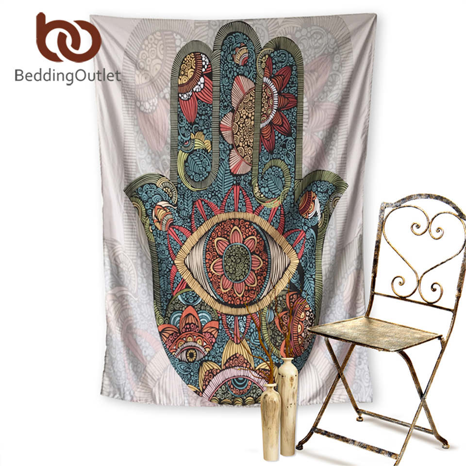 BeddingOutlet Hamsa Hand Tapestry Indian Mandala Floral Wall Hanging Tapestry Home Decor Psychedelic Art Wall Carpet Soft Sheet