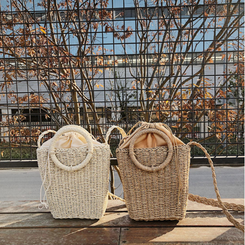 Bags For Tote-Bag Wicker Holiday Two-Colors Beach Fashion Casual Summer Women Ladies