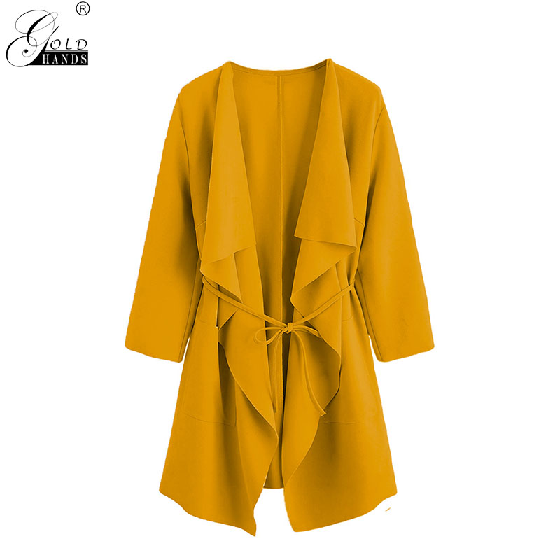 Gold Hands New Arrival Winter Streetwear Women   Trench   Turn-down Collar Solid Elegant Casual Slim Female Belt Coats Plus Size
