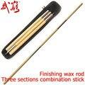 Kung fu stok drie secties combinatie stok Splicing shaolin afwerking wax staaf sturen zak