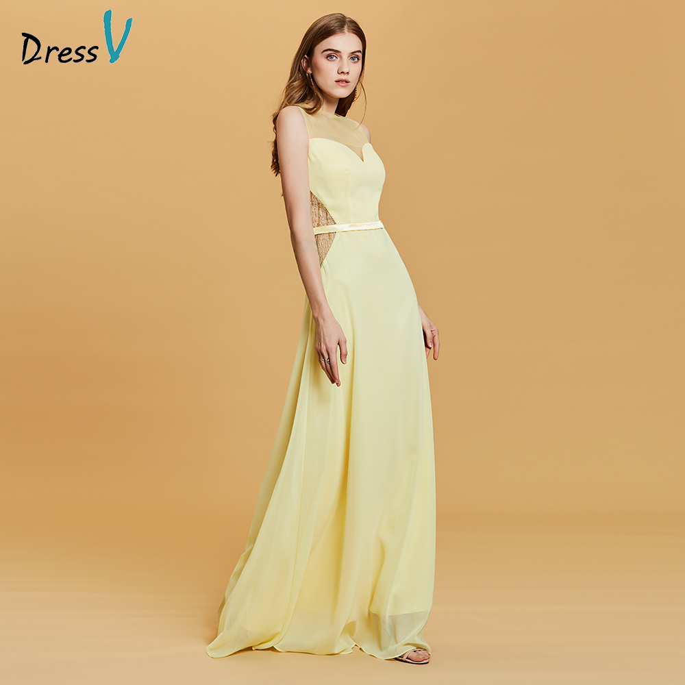 Dressv Daffodil Prom Dress Cheap Elegant Sample Scoop Neck Zipper Up Lace A Line Floor Length Wedding Formal Party Prom Dresses